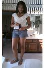 White-forever-21-blouse-blue-wet-seal-shorts-silver-charlotte-russe-brown-