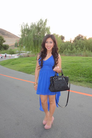 blue dress - black sequined kate spade bag