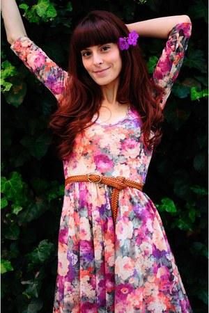 bubble gum floral print Stradivarius dress