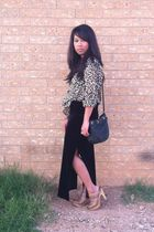 black thrifted shirt - brown H&M top - black Charlotte Russe bag - brown Aldo sh