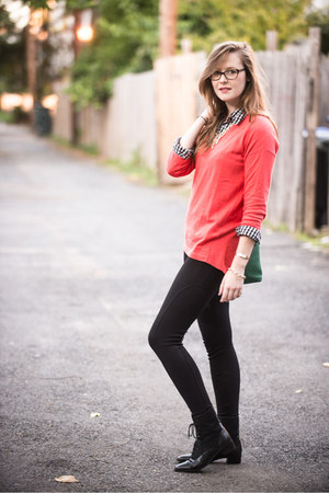 black Zara pants - Old Navy shirt - gold coral modcloth necklace