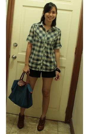 Mango shirt - Kamiseta shorts - Zara boots - longchamp purse