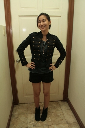 Pink Manila jacket - Zara shirt - sugar boots
