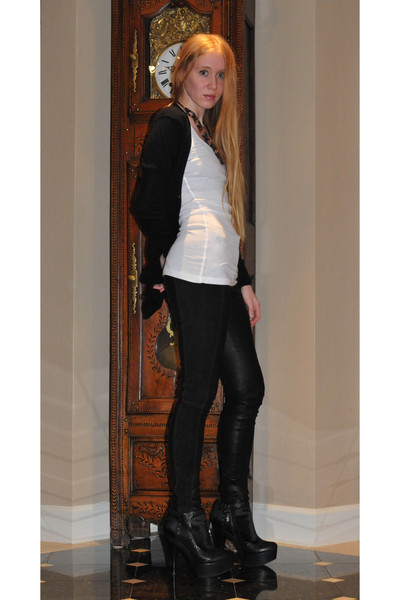 Fendi boots - Alexander Wang leggings - vince cardigan - necklace - Target top