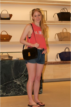 black box Celine bag - navy denim citizens of humanity shorts