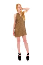 black suede alaia boots - light brown sequin Parker dress