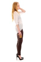 crimson leather Skinny pants - white flowlet 10 Corso top