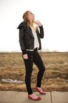 black skinny Frame Denim jeans - black leather ALC jacket