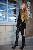 black Gucci boots - black sequin Alice  Olivia leggings - olive green mens Thaye