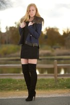 navy denim fur collar jacket - black thigh high suede boots