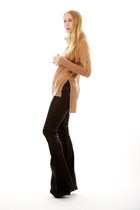 black leather flare Elizabeth and James pants - camel turtle tail ALC sweater