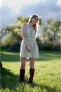 Beige-steven-alan-dress-brown-frye-boots-red-free-people-earrings