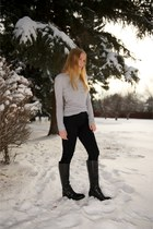 black riding Coconuts boots - black skinny Level 99 jeans