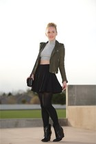 black ankle Cowboy boots - army green moto leather jacket