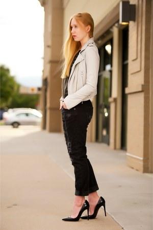 silver leather IRO jacket - black boyfriend Current Elliott jeans