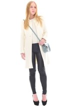white stitch Autumn Cashmere sweater - ivory wool J Crew coat