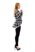 navy check Buffalo jacket - black knit Ponti leggings