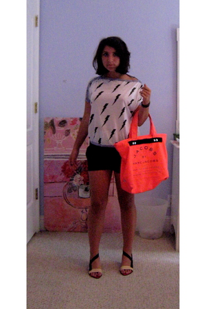 Topshop top - Forever 21 shorts - Miu Miu shoes - Marc by Marc Jacobs accessorie