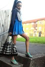 Blue-flowy-miss-selfridge-dress-silver-wrap-around-matalan-scarf