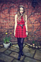 white Topshop shirt - black Jeffrey Campbell boots - red new look dress