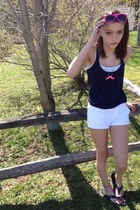 white hollister shorts - hot pink Big-lots glasses - navy weavers top