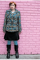 black boots - black Macys skirt - blue Macys tights - blue Nordstrom jacket
