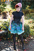 black HUE tights - black delias boots - black Old Navy shirt - blue Terry Blas s