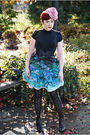 Black-hue-tights-black-delias-boots-black-old-navy-shirt-blue-terry-blas-s