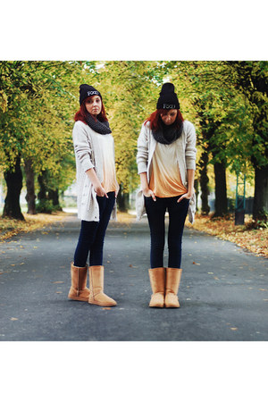 Sheinside top - Ugg boots - no name jeans - SH cardigan - hype nosis accessories