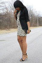off white polka dot JCrew dress - black tuxedo blazer H&M blazer