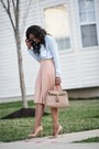 Light-blue-zara-shirt-beige-aldo-bag-peach-zara-skirt