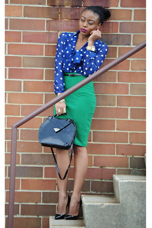 polka dot H&amp;M top - H&amp;M skirt - Christian Louboutin pumps