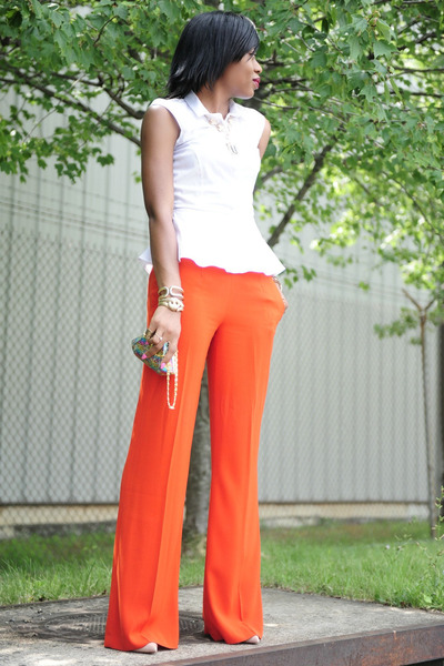 orange pants - light orange bag - beige heels - white blouse