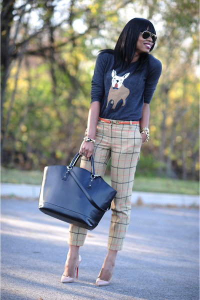 motif JCrew sweater - Zara bag - plaid JCrew pants - Christian Louboutin pumps