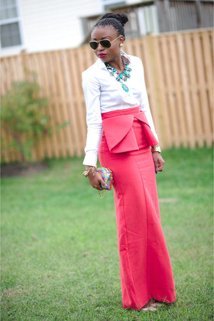 carrot orange bow Aqua by Aqua skirt - white Zara shirt - teal Zara necklace