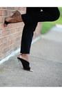 Black-zara-heels-dark-brown-snake-print-h-m-blouse-black-h-m-pants