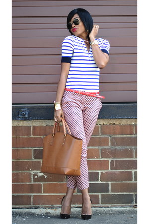 tawny Zara bag - red printed Jcrew pants - navy stripes Jcrew blouse