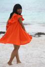 Carrot-orange-ruffles-asos-dress-camel-ray-ban-glasses
