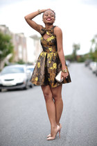 brown floral print asos dress - heather gray H&M purse