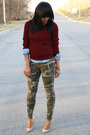 Army-green-camouflage-zara-pants-crimson-forever21-sweater