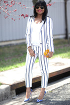 blue Zara pants - white Zara blazer - blue Miu Miu pumps