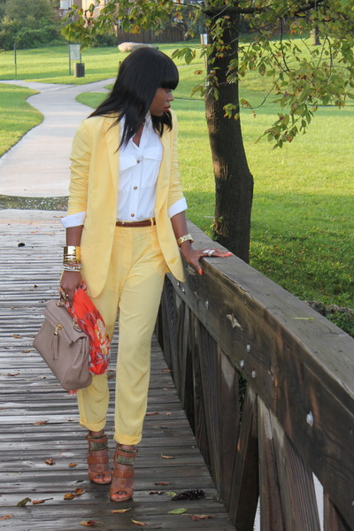 yellow Mango blazer - carrot orange H&M scarf - tan Aldo bag