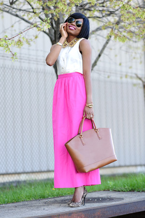 brown Zara bag - neutral H&M shirt - hot pink Jcrew skirt
