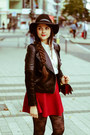 Black-wool-h-m-hat-ruby-red-skirt