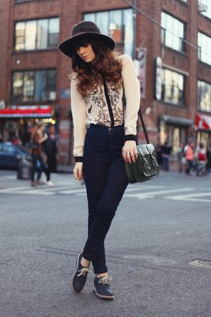 beige Sheinside shirt - navy American Apparel jeans