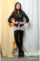 black Express jacket - silver Forever 21 top - black H&M leggings - black Steve