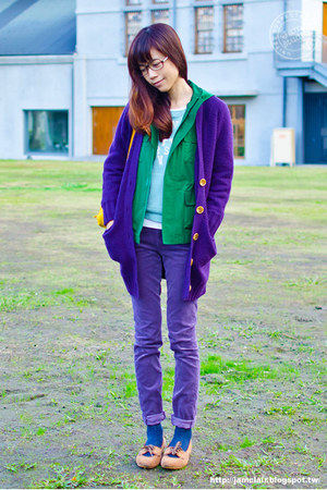 purple Uniqlo pants - green Uniqlo coat - deep purple Uniqlo cardigan