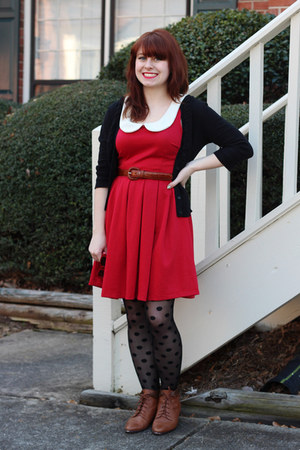 red modcloth dress - brown lace-up vintage boots - black polka dot Kmart tights
