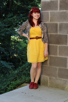 yellow Sugarlips dress - red lace up oxfords Forever 21 shoes