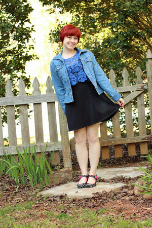 blue Delias top - black jersey knit Forever 21 dress - blue denim so jacket